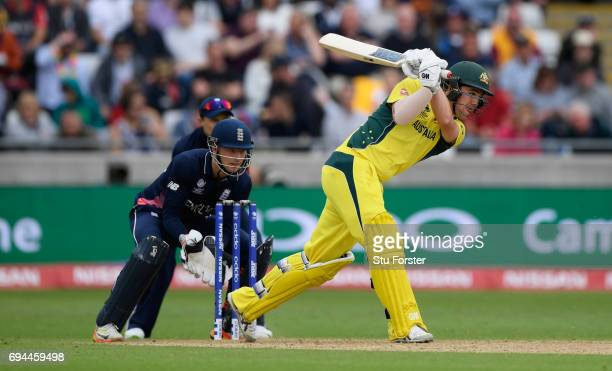 Australia batsman Travis Head hits out during the ICC Champions Trophy match between England and Australia at Edgbaston on June 10 2017 in Birmingham...