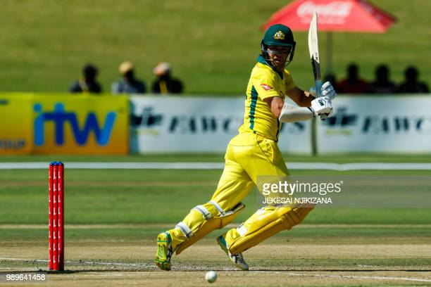 Australia batsman Travis Head runs during the second match between Australia and Pakistan as part of a T20 triseries which includes host country...