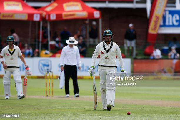 Australia batsman Usman Khawaja leaves the ground after having been dismissed by South Africa bowler Vernon Philander during day one of the second...