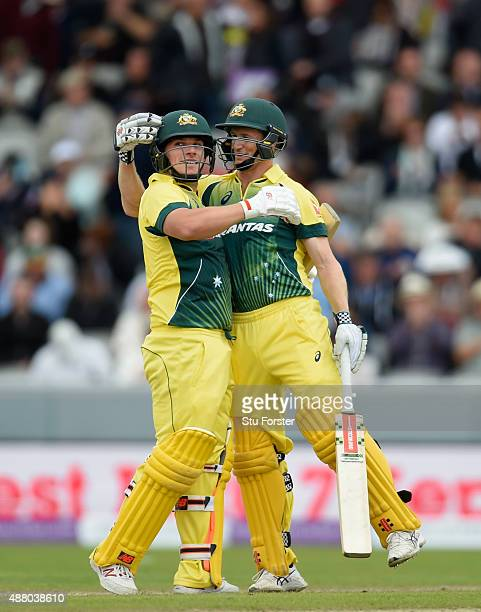 Australia batsmen Aaron Finch and George Bailey celebrate victory by 8 wickets during the 5th Royal London OneDay International match between England...