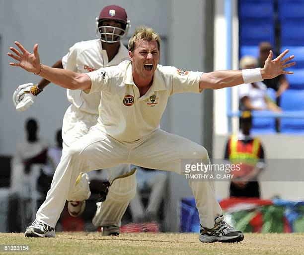 Australia bowler Brett Lee screams after dismissing by LBW West Indies batsman Denesh Ramdin during the 2008 Digicel Home Series at the Sir Vivian...
