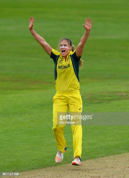 Australia bowler Ellyse Perry appeals in vain for a wicket during the ICC Women's World Cup 2017 match between Australia and West Indies at The...