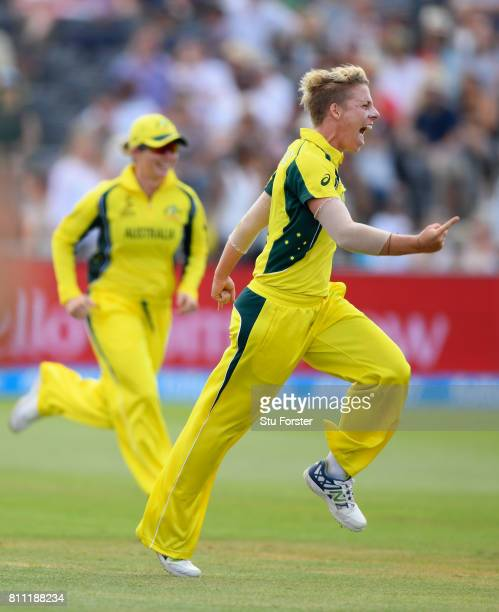 Australia bowler Elyse Villani celebrates after dismissing Natalie Sciver during the ICC Women's World Cup 2017 match between England and Australia...