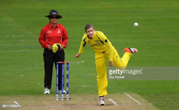 Australia bowler Jess Jonassen in action during the ICC Women's World Cup 2017 match between Australia and West Indies at The Cooper Associates...