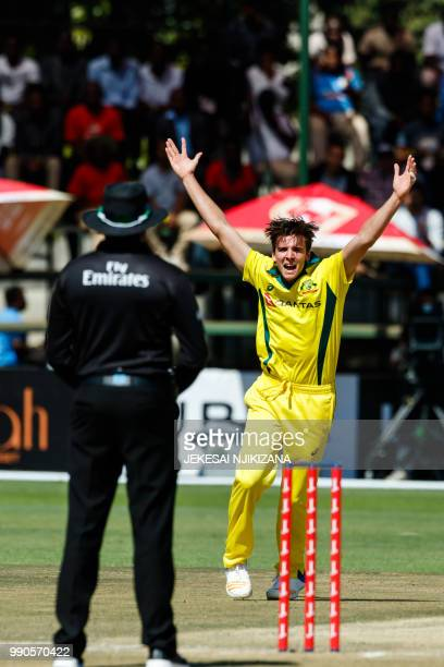 Australia bowler Jhye Richardson appeals for a wicket during the third match played between Australia and hosts Zimbabwe as part of a T20 tri-series...