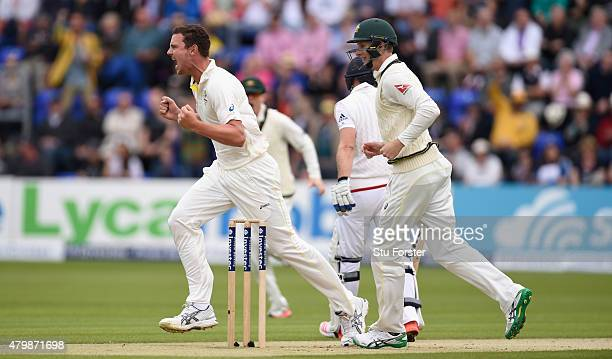 Australia bowler Josh Hazlewood celebrates after dismissing Adam Lyth for the first wicket of the Ashes series during day one of the 1st Investec...