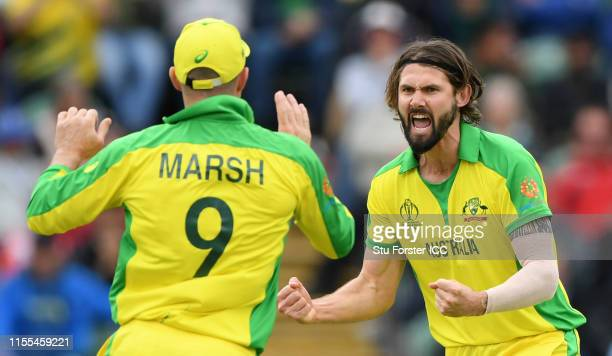 Australia bowler Kane Richardson celebrates after dismissing Pakistan batsman Asif Ali during the Group Stage match of the ICC Cricket World Cup 2019...