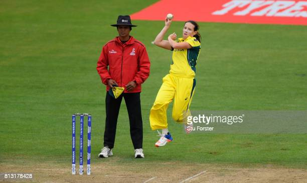 Australia bowler Megan Schutt in action during the ICC Women's World Cup 2017 match between Australia and India at The County Ground on July 12 2017...
