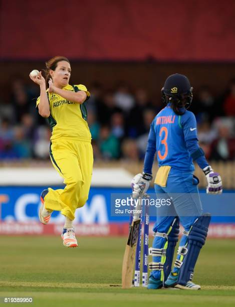 Australia bowler Megan Schutt in action during the ICC Women's World Cup 2017 SemiFinal match between Australia and India at The 3aaa County Ground...