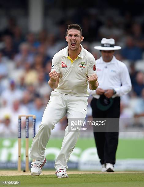 Australia bowler Mitchell Marsh celebrates after dismissing England batsman Jos Buttler during day four of the 5th Investec Ashes Test match between...