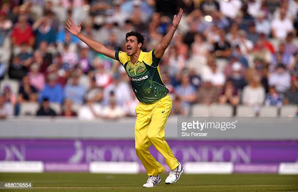 Australia bowler Mitchell Starc appeals succesfully for lbw against Jason Roy during the 5th Royal London OneDay International match between England...