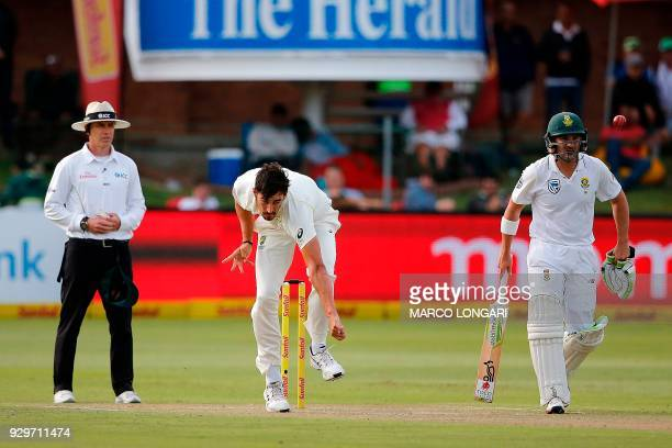 Australia bowler Mitchell Starc delivers the ball during day one of the second Sunfoil Test between South Africa and Australia at St GeorgeÕs Park in...
