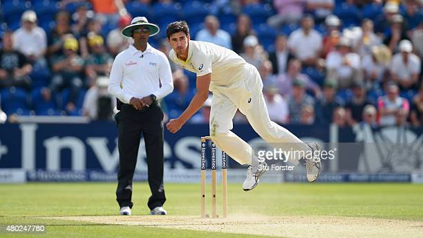 Australia bowler Mitchell Starc in action during day three of the 1st Investec Ashes Test match between England and Australia at SWALEC Stadium on...