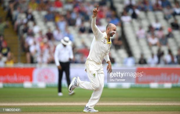 Australia bowler Nathan Lyon celebrates after taking the wicket of Stuart Broad during the fifth day of the 1st Test match between England and...