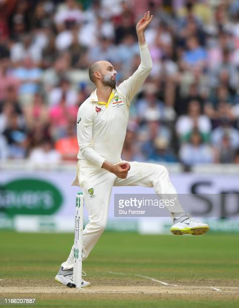 Australia bowler Nathan Lyon in action during the fifth day of the 1st Test match between England and Australia at Edgbaston on August 05, 2019 in...