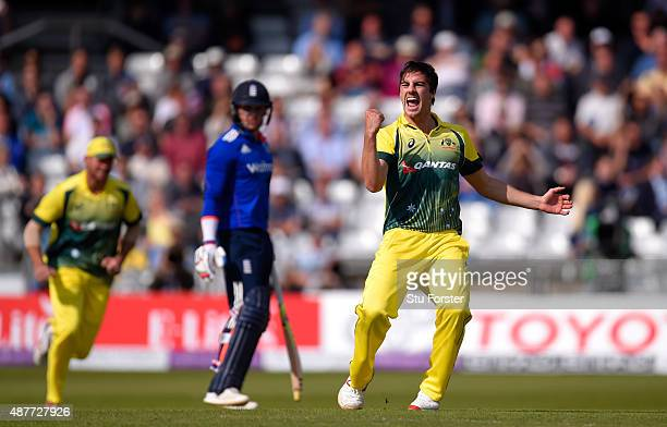 Australia bowler Pat Cummins celebrates after dismissing England batsman Alex Hales during the 4th Royal London OneDay International match between...