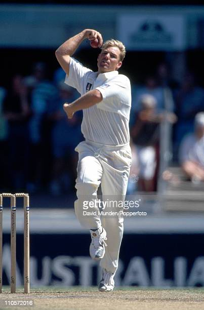 Australia bowler Shane Warne in action against the West Indies during the 2nd Test match at the Sydney Cricket Ground on 29th November 1996 Australia...