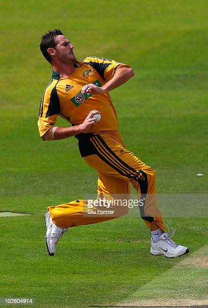 Australia bowler Shaun Tait in action during the 5th Natwest One Day International between England and Australia at Lords on July 3 2010 in London...