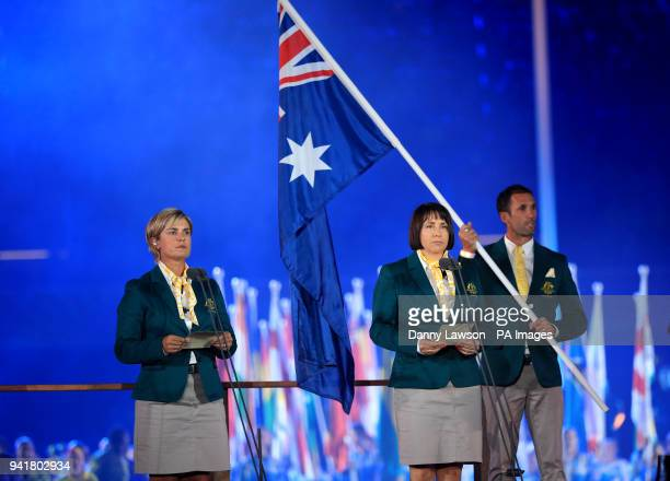 Australia Bowls athlete Karen Murphy and Netball coach Lisa Alexander deliver the athletes oath during the Opening Ceremony for the 2018 Commonwealth...