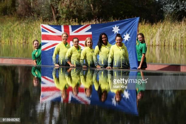 Australia captain Alicia Molik Ashleigh Barty Daria Gavrilova Destanee Aiava and Casey Dellacqua of Australia pose during the official draw ahead of...