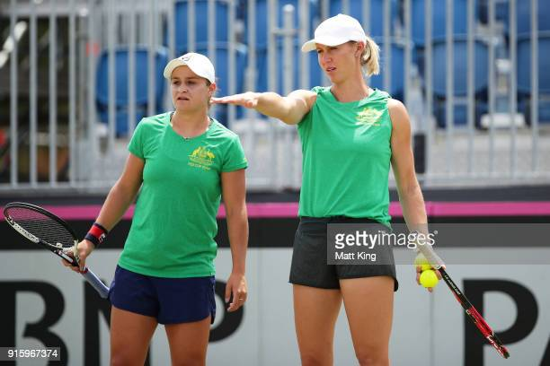 Australia captain Alicia Molik talks to Ashleigh Barty of Australia during practice ahead of the Fed Cup tie between Australia and the Ukraine on...