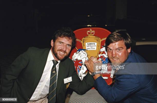 Australia captain Allan Border and England Captain Mike Gatting pictured arm wrestling as a preview to the forthcoming 1986/87 Ashes Series in...