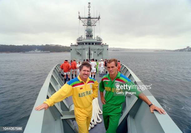 Australia captain Allan Border and South Africa captain Kepler Wessels pictured on board a boat at the opening ceremony for the 1992 Cricket World...