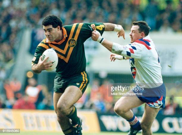 Australia captain Mal Meninga breaks away from Garry Schofield of Great Britain during the rugby league International at Wembley Stadium in London on...