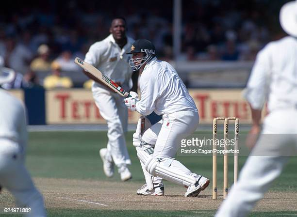 Australia captain Mark Taylor batting during the 5th Test match between England and Australia at Trent Bridge Nottingham 7th August 1997 The bowler...
