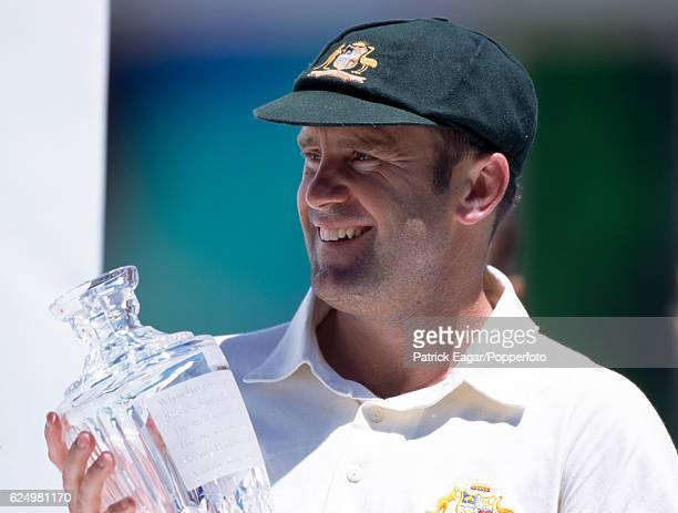 Australia captain Mark Taylor holds the crystal Ashes urn at the end of the 5th Test match between Australia and England at the SCG Sydney Australia...