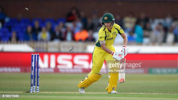 Australia captain Meg Lanning is bowled for 0 during the ICC Women's World Cup 2017 SemiFinal match between Australia and India at The 3aaa County...
