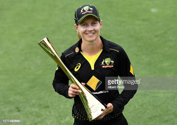 Australia captain Meg Lanning poses with the series trophy after her team won the series during game three of the T20 International series between...