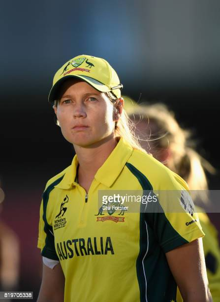 Australia captain Meg Lanning reacts after the ICC Women's World Cup 2017 SemiFinal match between Australia and India at The 3aaa County Ground on...