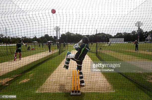 Australia captain Michael Clarke bats in the nets during the Australia Nets Session at The Spitfire Ground St Lawrence on June 24 2015 in Canterbury...
