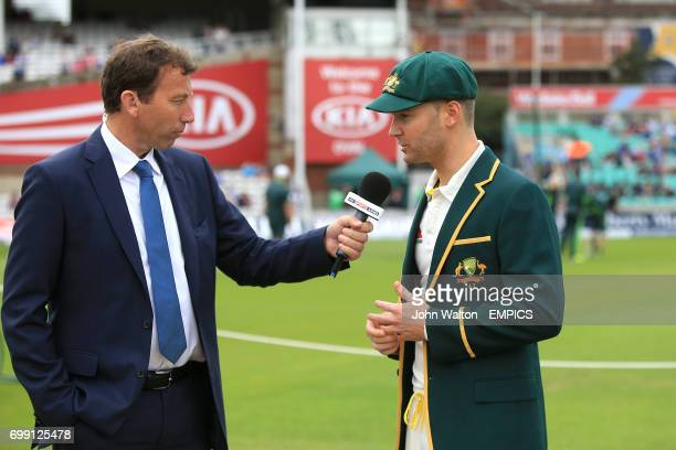 Australia captain Michael Clarke is interviewed by Michael Atherton