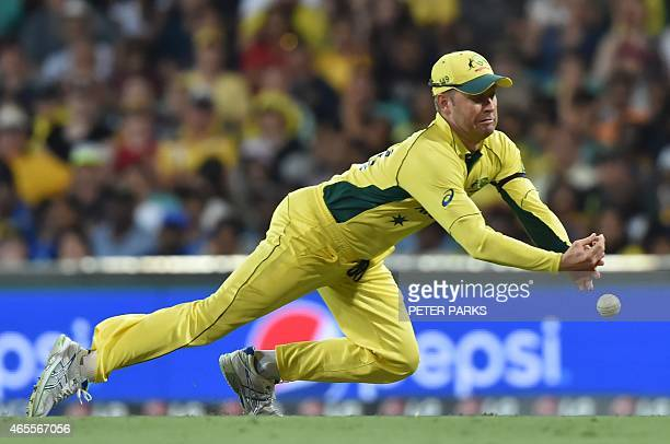Australia captain Michael Clarke misses a catch from Tillakaratne Dilshan of Sri Lanka during the 2015 Cricket World Cup Pool A match between...