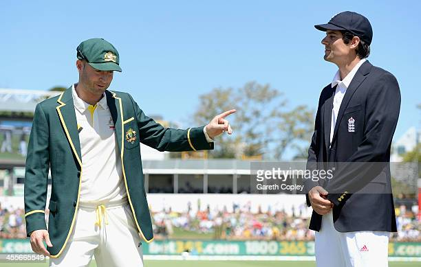 Australia captain Michael Clarke shaeks hands with England captain Alastair Cook ahead of day one of the Third Ashes Test Match between Australia and...