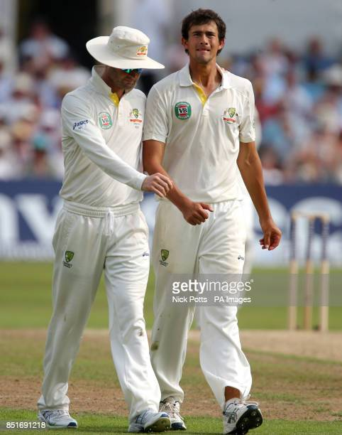 Australia captain Michael Clarke talks with bowler Ashton Agar during day three of the First Investec Ashes Test match at Trent Bridge, Nottingham.