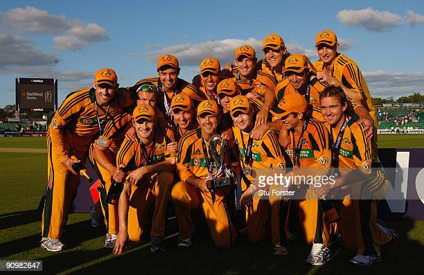 Australia captain Ricky Ponting and the Australian team celebrate their 61 series victory after the 7th NatWest ODI between England and Australia at...