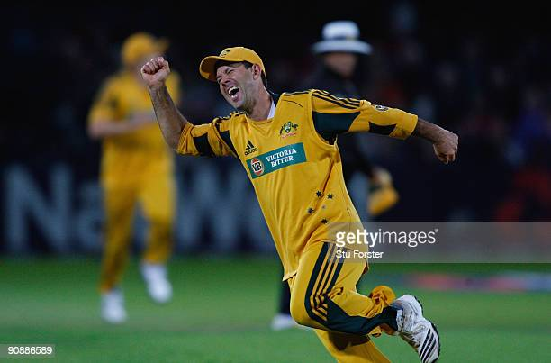 Australia captain Ricky Ponting celebrates after running out England batsman Ravi Bopara during the 6th NatWest ODI between England and Australia at...