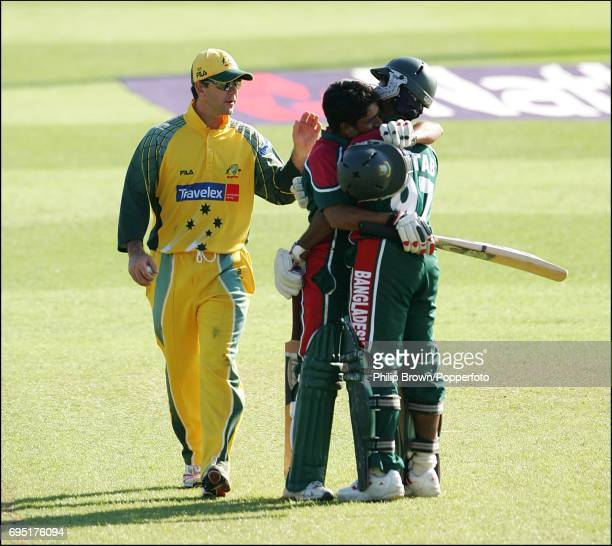 Australia captain Ricky Ponting congratulates Mohammad Ashraful of Bangladesh after he reached his century during the NatWest One Day International...