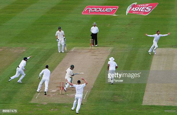 Australia captain Ricky Ponting looks back to see that he is bowled by Graeme Swann during day four of the npower 3rd Ashes Test Match between...