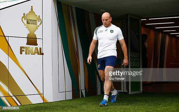 Australia captain Stephen Moore makes his way onto the field during the Australia Captain's Run ahead of the World Cup Final at Twickenham on October...