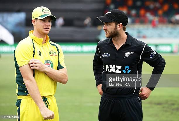 Australia captain Steve Smith talks to New Zealand captain Kane Williamson prior to game two of the One Day International series between Australia...