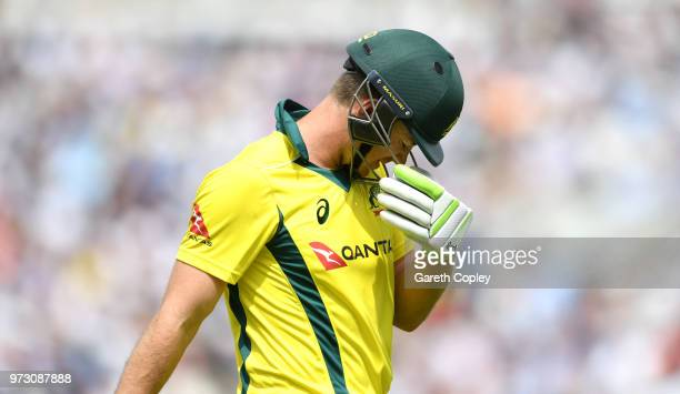 Australia captain Tim Paine leaves the field after being dismissed by Moeen Ali of England during the 1st Royal London ODI match between England and...
