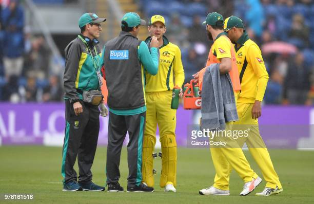 Australia captain Tim Paine receives a treatment after being hit in the face during the 2nd Royal London ODI between England and Australia at SWALEC...
