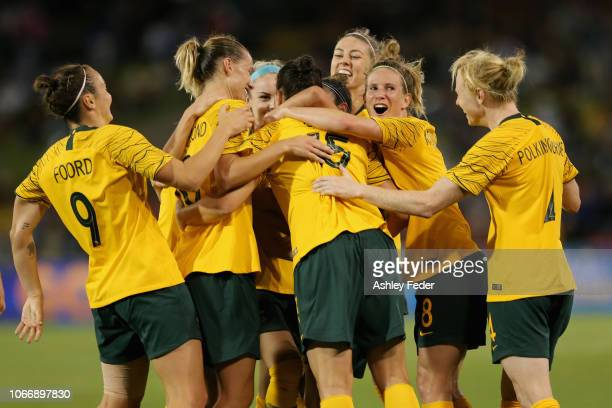 Australia celebrate a goal from Caitlin Foord during the International Women's Friendly match between the Australian Matildas and Chile at McDonald...