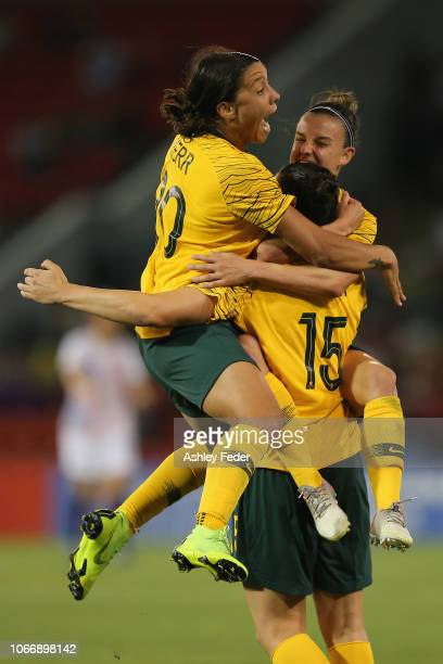 Australia celebrate a goal from Emily Gielnik during the International Women's Friendly match between the Australian Matildas and Chile at McDonald...