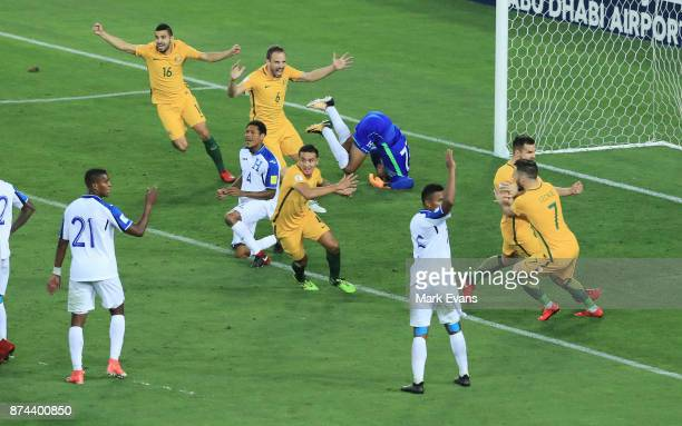 Australia celebrate a goal scored by Mile Jedinak uring the 2018 FIFA World Cup Qualifiers Leg 2 match between the Australian Socceroos and Honduras...