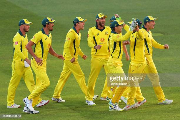 Australia celebrate after Aiden Markram of South Africa is run out during game two of the One Day International series between Australia and South...